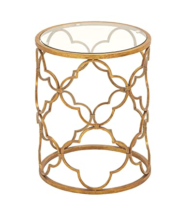 Deco 79 67056 Metal Glass Accent Table, 16u0026quot; X 20u0026quot;, Gold
