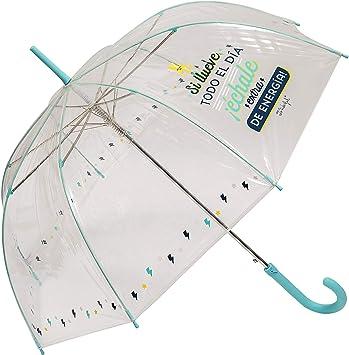 Paraguas Largo Transparente Mr. Wonderful Si llueve Todo el día ...