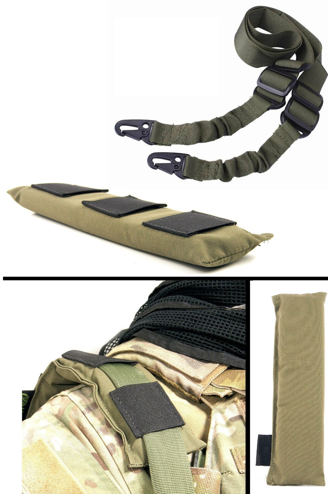 Ultimate Arms Gear IDF Israeli Defense Forces OD Olive Drab Green Mount Shoulder Pad Padded + Two-Point Sling, OD Olive Drab Green For Springfield Armory M1A Garand Tanker M1 Carbine