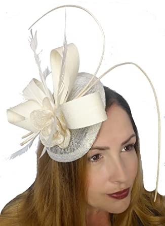 1f5ecea079c45 Chapter 78 Boutique Ivory Cream Satin Bow Sinamay Disc Fascinator ...