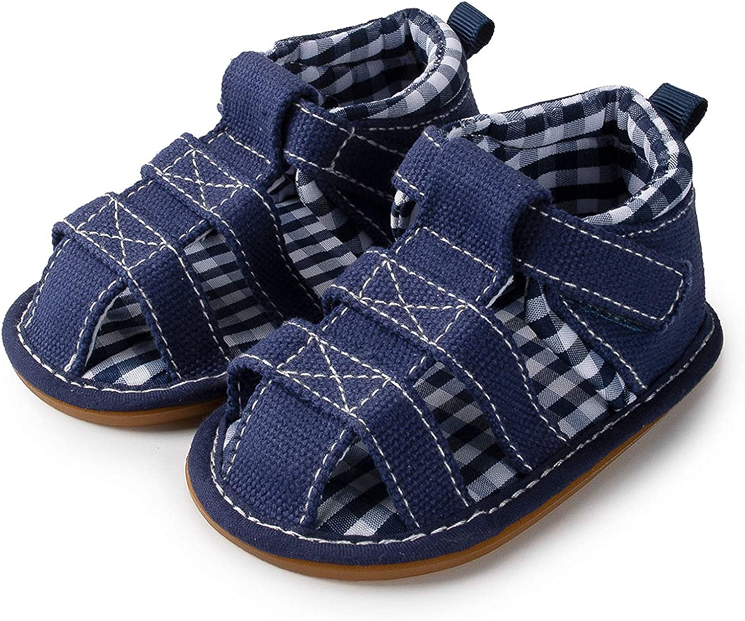 12-18 Months, B-Gray Meckior Summer Baby Infant Boys Sandals Canvas Soft Sole Non-Slip Closed Toe First Walkers Shoes