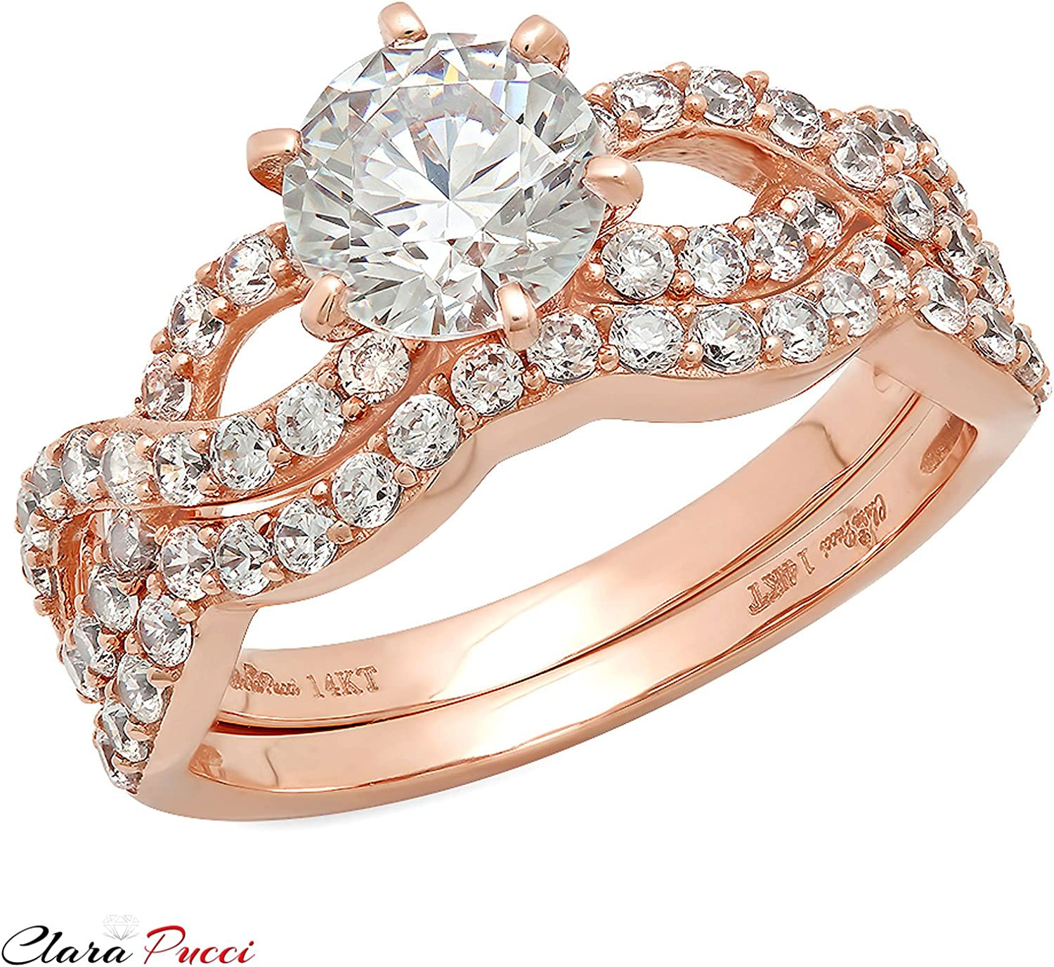 1.9ct Heart Solitaire Cz Stainless Steel Wedding Engagement Rose Gold Plated 3 Ring Set