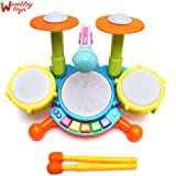 Wembley Toys Multi Colored Dynamic Fun Beat Jazz Musical Electronic Drum Set with Mic/Drumstick and Flashing Lights for Kids