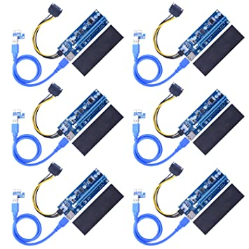 Pack of 6 PCIe Riser Card Kit 1x to 16x Riser Cable For Graphics Card Mining