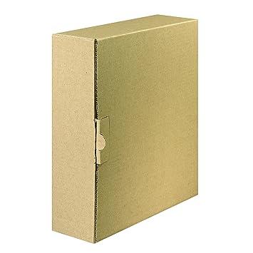FALKEN Carpeta con cierre - Caja de envío para archivadores y anillo libros de hasta 8 cm anchura Color Marrón: Amazon.es: Oficina y papelería