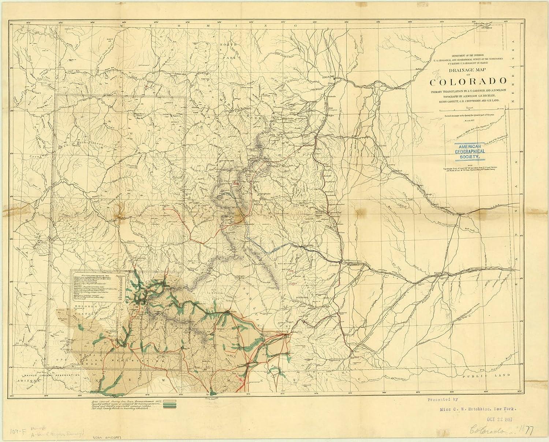 Amazon.com: Historic Map | Colorado 1877 1 | Drainage map of ...