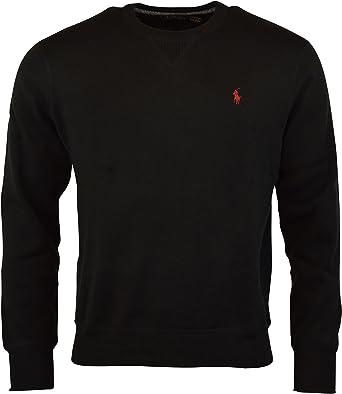 Polo Ralph Lauren hombres de cuello redondo Pullover Sweater - negro -: Amazon.es: Ropa y accesorios