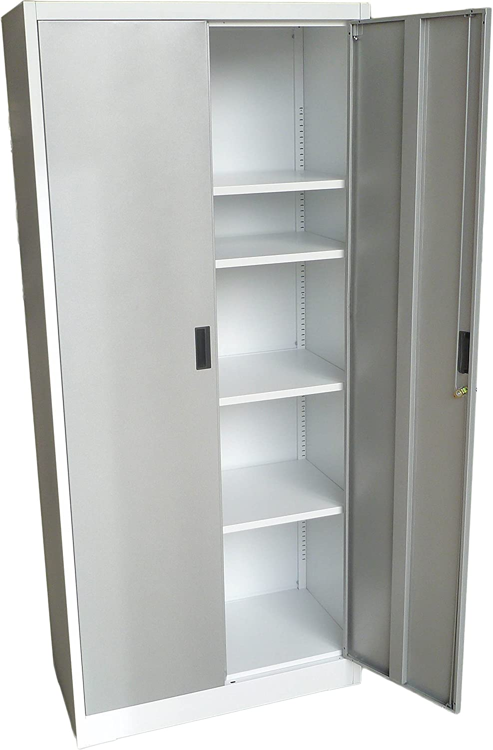 "Fedmax Metal Storage Cabinet 71"" Tall, Lockable Doors and Adjustable Shelves, 70.86"" Tall x 31.5"" W x 15.75"" D, Great Steel Locker for Garage, Kitchen Pantry, Office and Laundry Room (White)"