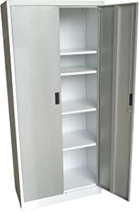 """Fedmax Metal Storage Cabinet 71"""" Tall, Lockable Doors and Adjustable Shelves, 70.86"""" Tall x 31.5"""" W x 15.75"""" D, Great Steel Locker for Garage, Kitchen Pantry, Office and Laundry Room (White)"""