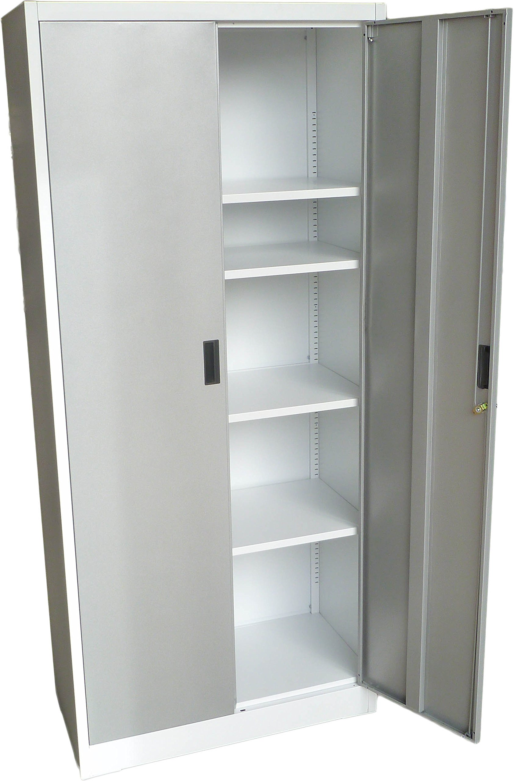 Fedmax Steel Storage Cabinet 71'' Tall, Lockable Doors and Adjustable Shelves, (Choose Color) 70.86'' Tall x 31.5'' W x 15.75'' D (White)