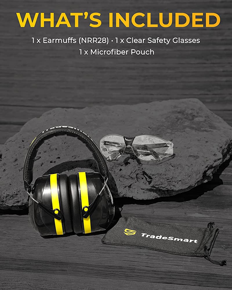 TRADESMART Shooting Earmuffs and Anti Fog Scratch Resistant Safety Glasses Combo
