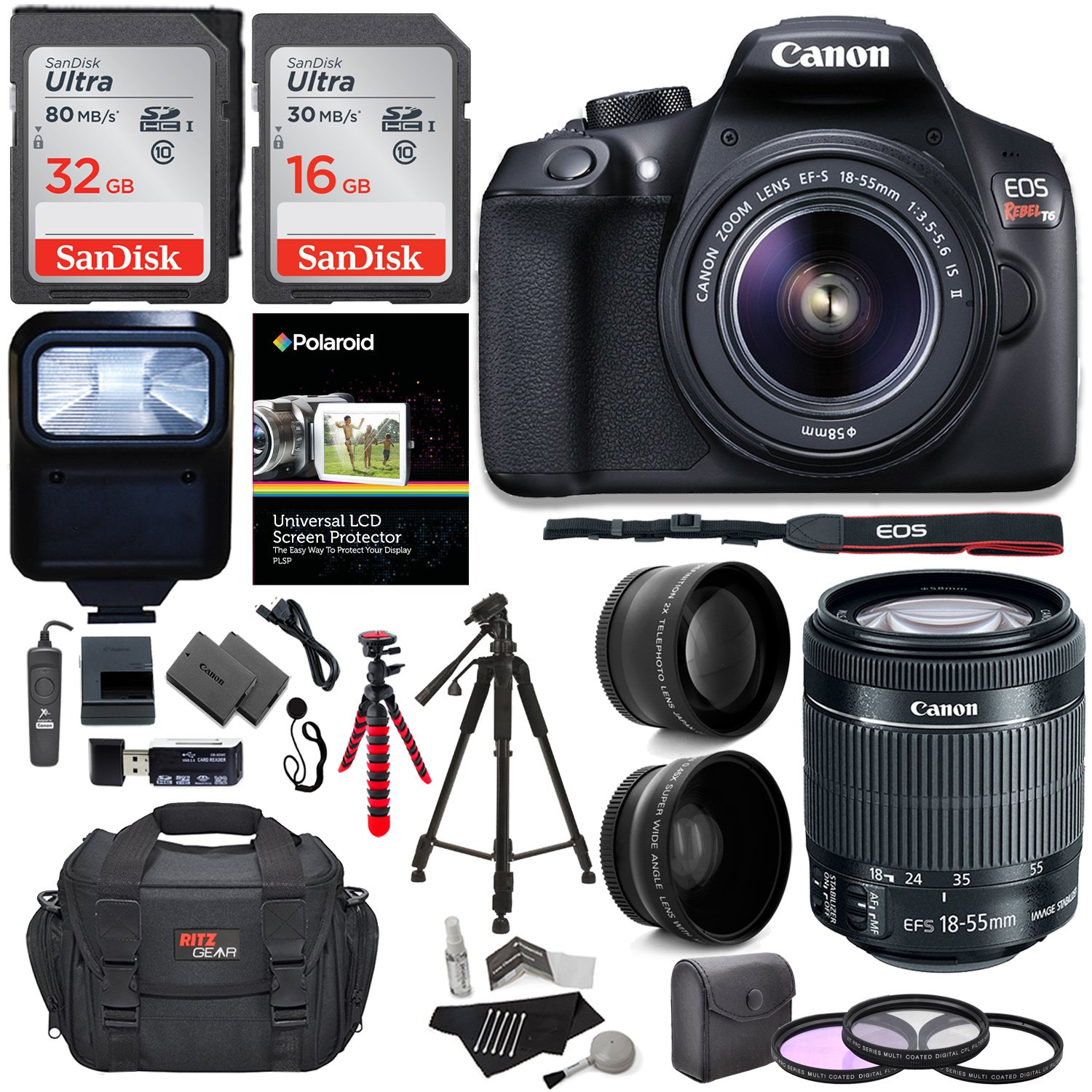 Ritz Camera Canon T6 Digital Rebel SLR Camera Kit with EF-S 18-55mm f/3.5-5.6 IS II Lens, 64GB Memory Card, Camera Bag and Premium Accessory Bundle