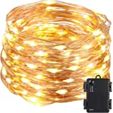 Kohree String Light LED Fair Copper Wire Light Waterproof Battery Box 40 Feet 120 LEDs Long Ultra Thin String Copper Wire, Decor Rope Light with Timer Perfect for Weddings, Party, Bedroom, Xmas