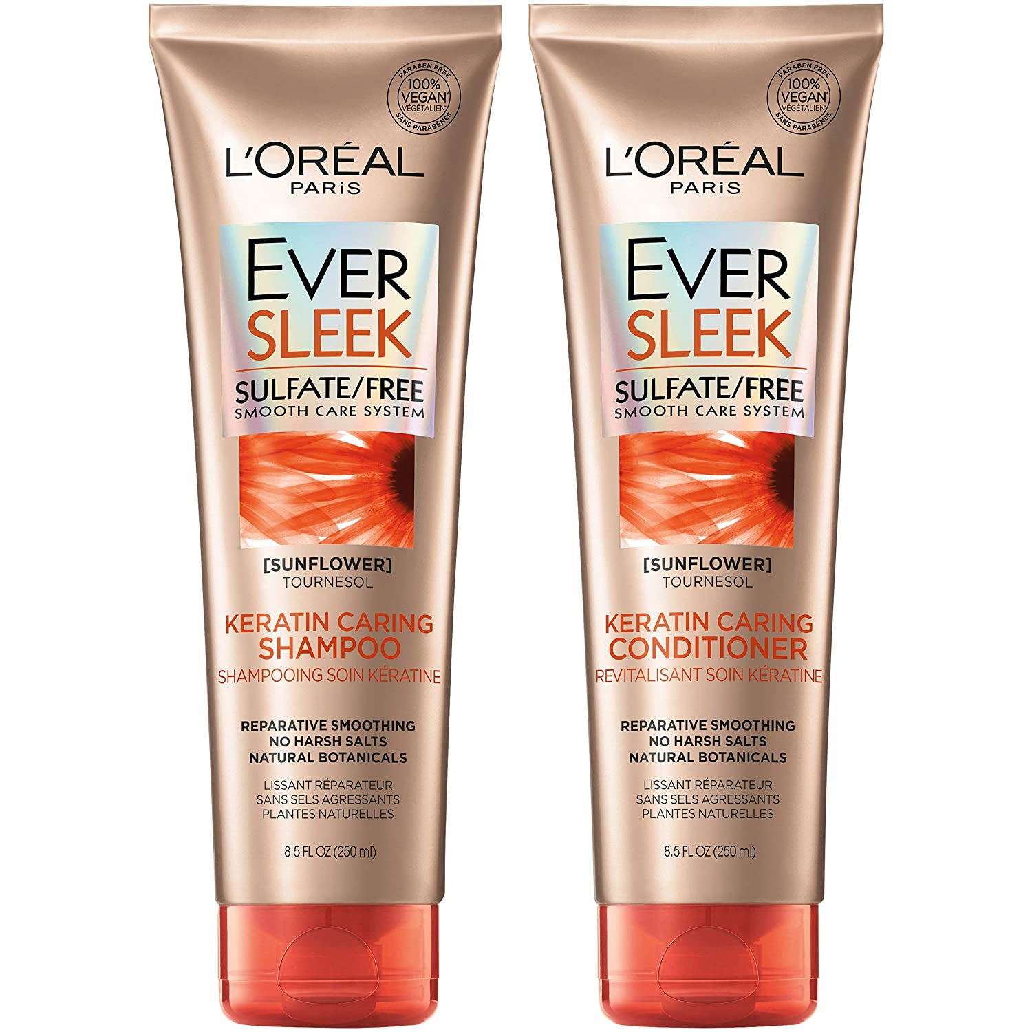 L'Oréal Paris Hair Care EverSleek Keratin Caring Sulfate Free Shampoo & Conditioner Kit, Smooths + Repairs, With Sunflower Oil, For Dry, Straightened Hair (8.5 Fl. Oz each)