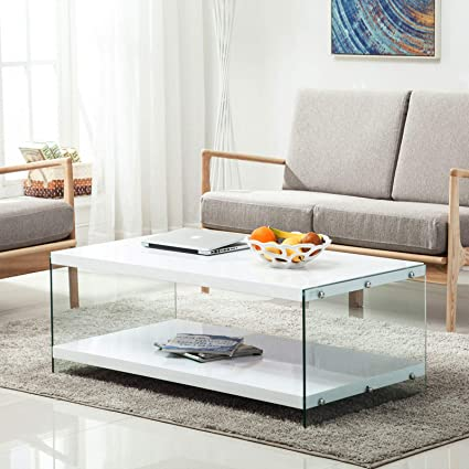 Amazon.com: Modern High Gloss White Coffee Table Storage ...