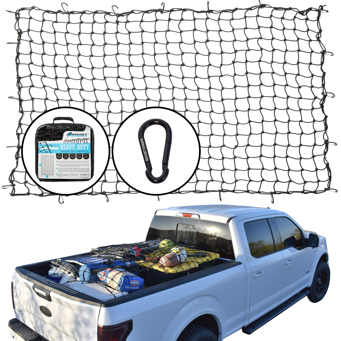 "Rocket Straps | Cargo Net 4'X6' Bungee Net | Truck Bed Net Includes (12) Steel Carabiners & Bag | Heavy Duty 5mm 3""X3"" Mesh 
