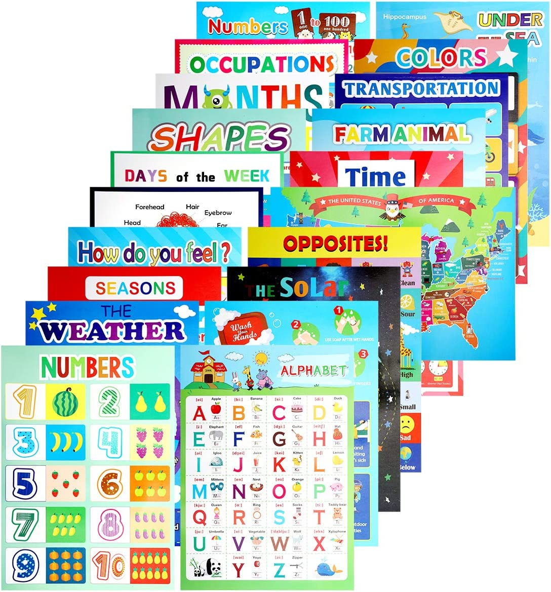20PCS Educational Preschool Learning Posters for Toddlers Preschooler Pre-K Kindergarten Homeshcool Classroom Kids - Virtual Learning ABC Alphabet Number, Color, Shape, Day, Farm Animals and More
