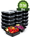 Meal Prep Food Storage Containers with Lids, 2 Compartment 30 oz (20 Set) - BPA Free, Lunch Portion Control, Dishwasher, Freezer Safe, Microwavable, Reusable or Disposable Plastic Bento boxes