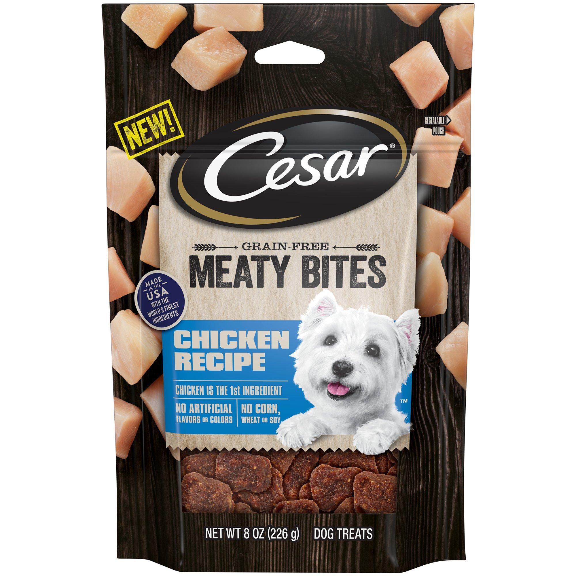 Cesar Meaty Bites Grain Free Dog Treats Chicken Recipe, (6) 8 Oz. Pouches by Cesar