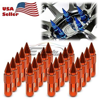 EZAUTOWRAP Orange 20 PCS M12x1.25 Lug Nuts Spiked 60mm Extended Tuner Aluminum Wheels Rims Cap WN03: Automotive