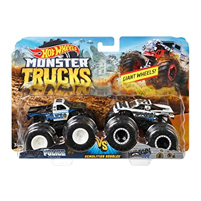 Hot Wheels MONSTER TRUCKS DEMOLITION DOUBLES POLICE VS HOOLIGAN GIANT WHEELS: Toys & Games