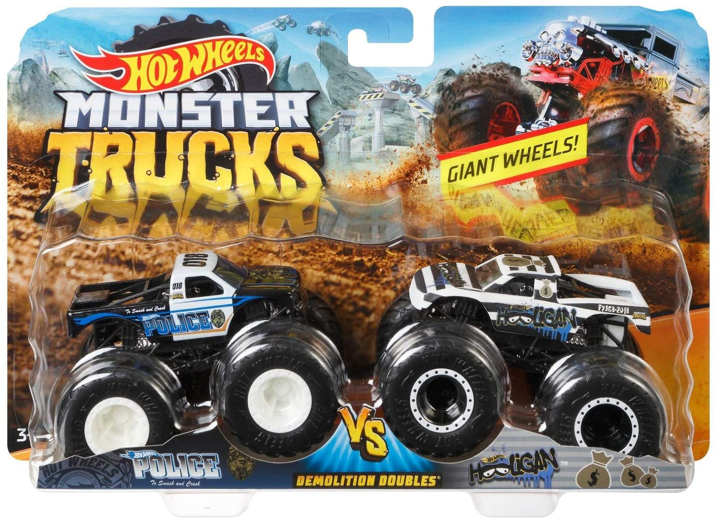 Amazon Com Hot Wheels Monster Trucks Demolition Doubles Police Vs Hooligan Giant Wheels Toys Games