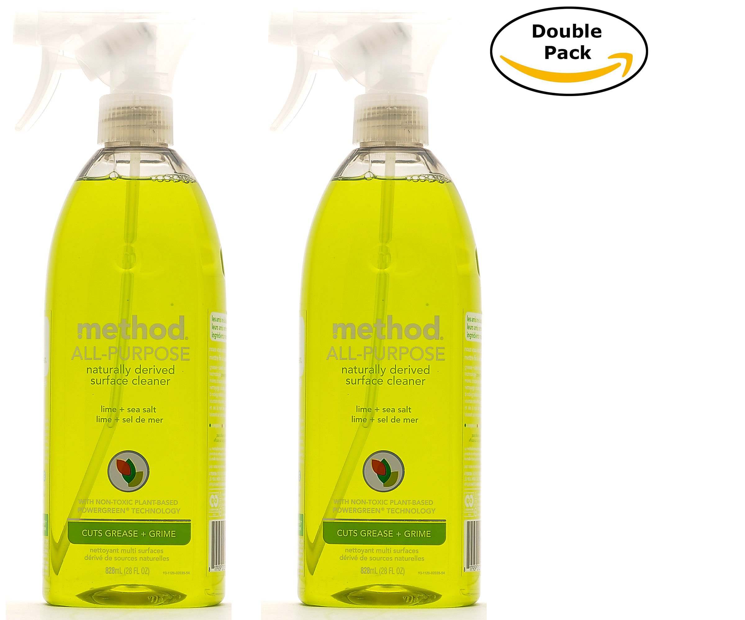 Method Naturally Derived All Purpose Cleaner Spray Bottles, Lime + Sea Salt, 28 FL Oz Twin Pack (28 x 2, Total 56 Oz)