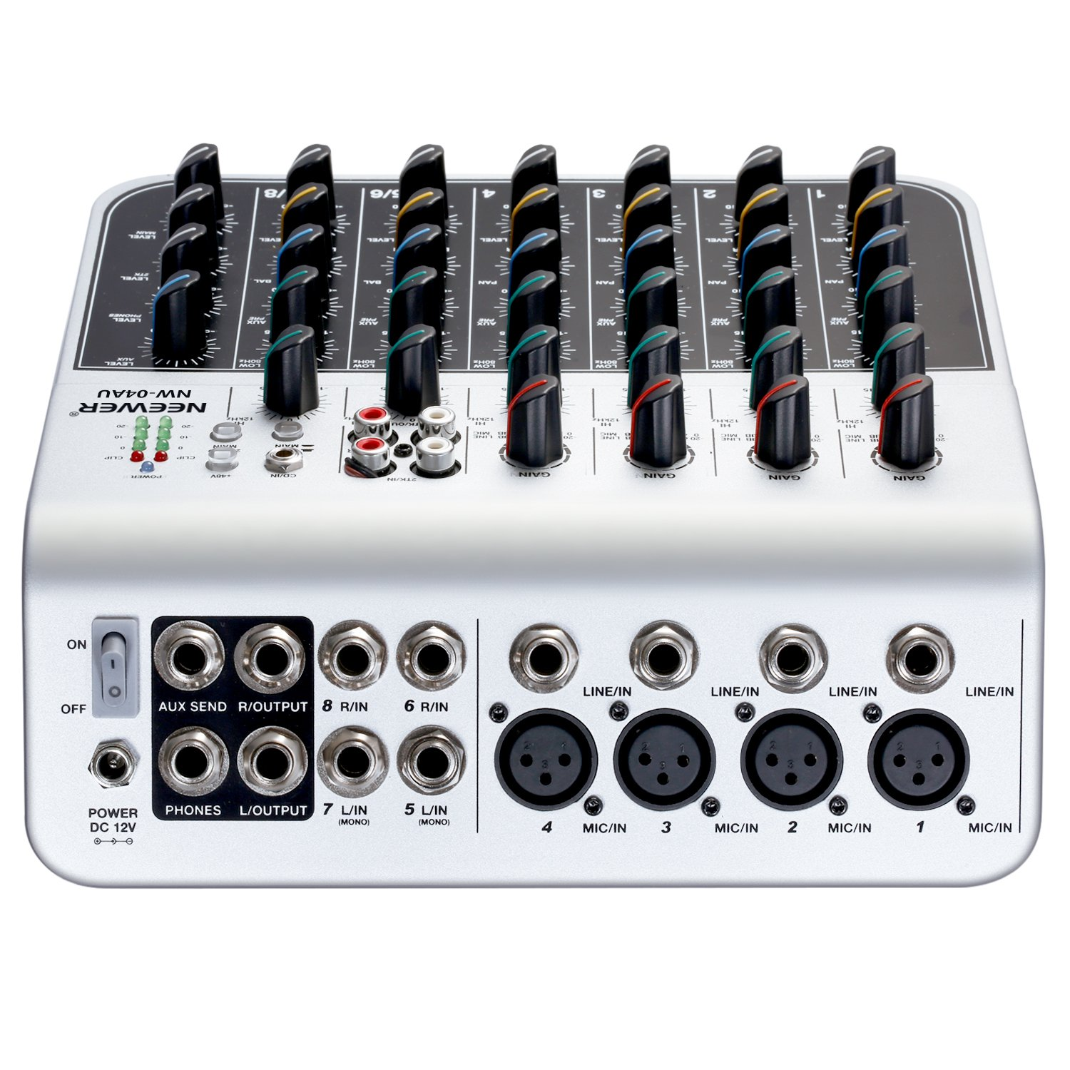 Neewer Stereo Mixer Compact Mini Mixing Console With 4 Channel 2 Way For Microphone Channels Line Input Rca