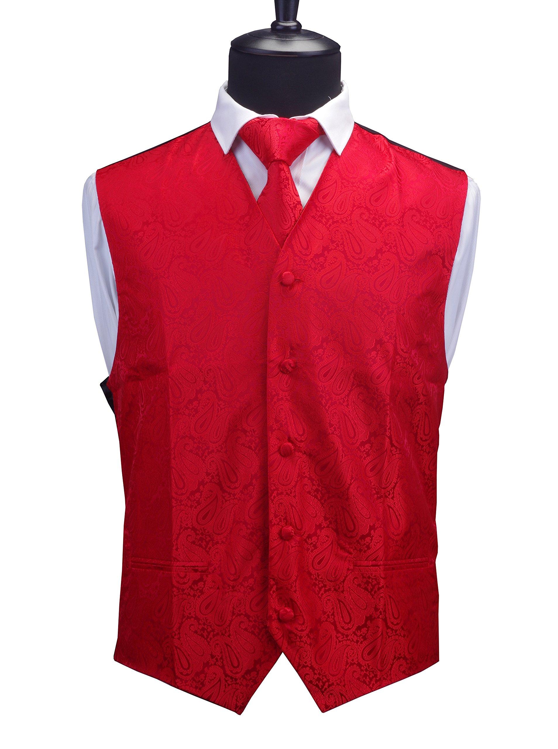 bda2e57400836 GUSLESON 3pc Mens Paisley Vest Necktie Pocket Square Set for Suit or Tuxedo  (Red, S)
