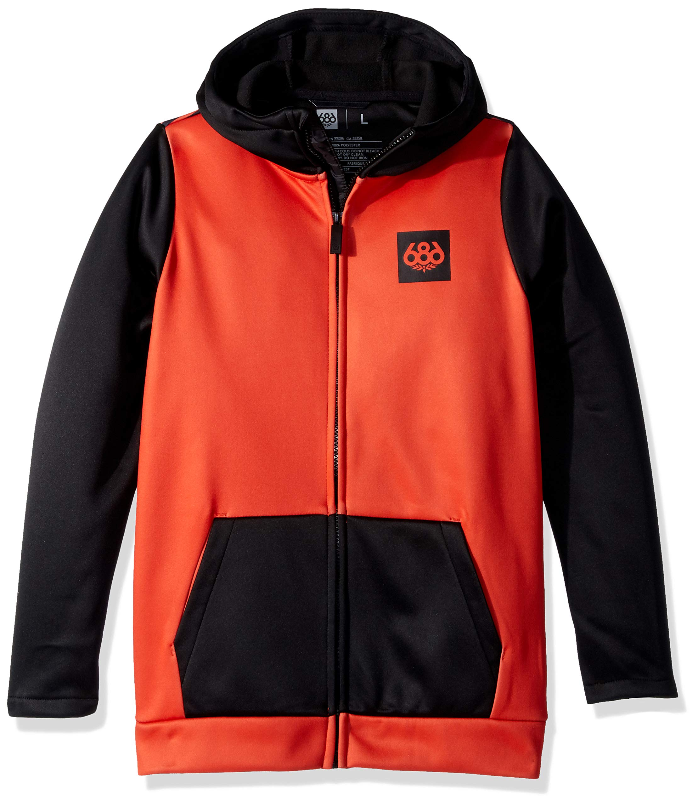 686 Boys' Bonded Zip-Up Hoody | Jersey and Fleece Backed Jacket | Infrared imation - L