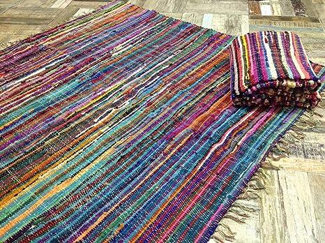 Tappeti In Tessuto Riciclato : Tappeto 100 % cotone riciclato multicolore fatto a mano stile
