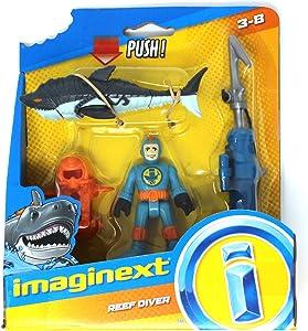 Imaginext Reef Diver, Harpoon Launcher and Shark - 2.5 Inch Figure