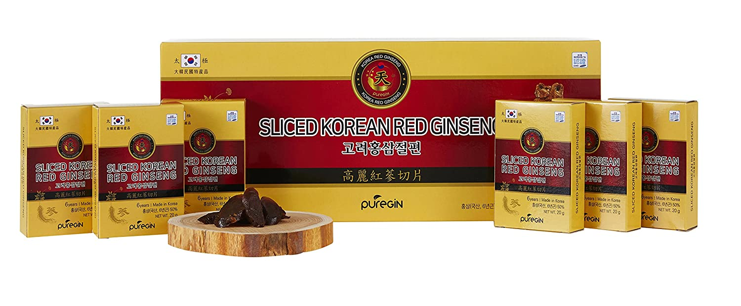 200g 10ea X 20g , Korean Red Ginseng Root Honeyed Slices, Saponin, Panax
