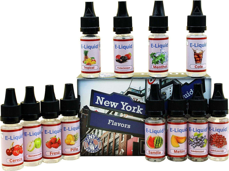 E-Líquido NY FLAVORS, 12 X 10mL E Liquido Vaper Sin Nicotina, E-Liquid VG60/PG40, Set E-Líquido Para Cigarrillos Electrónicos Nuevos Sabores