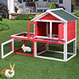 """LAZYMOON 53"""" Wooden Rabbit House Hutch Chicken Coop Poultry Bunny Small Animal Cage w/Tray Run("""