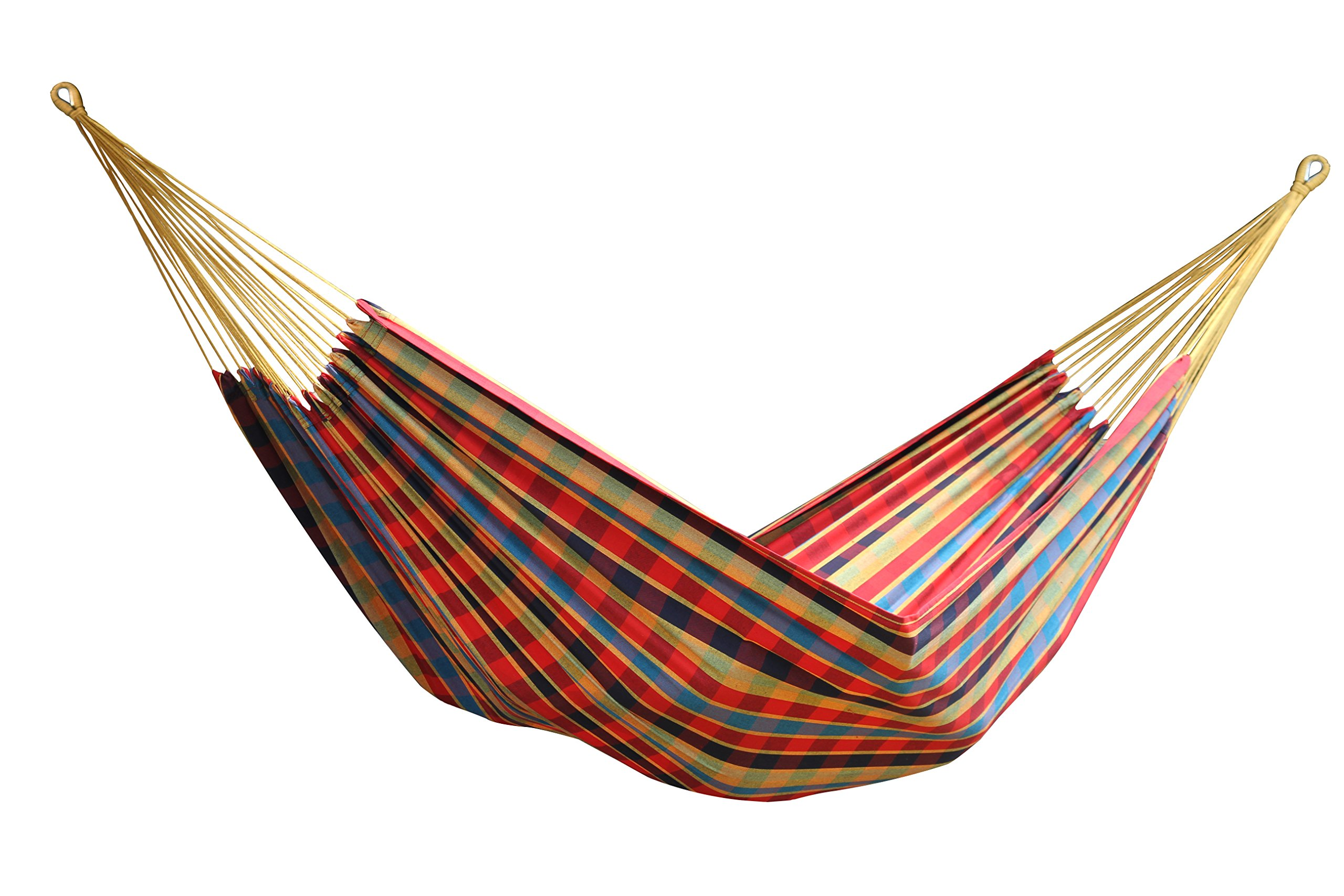 "Vivere BRAZ123 Single Brazilian Hammock, Paradise - Designed for one, the breathable 100% cotton fabric of this hammock makes relaxation effortless. Now with a larger hammock bed, measuring 83"" x 59"" for maximum comfort. Folds into a compact size so traveling with a hammock is easier than ever. - patio-furniture, patio, hammocks - 81Vx7CH9vWL -"