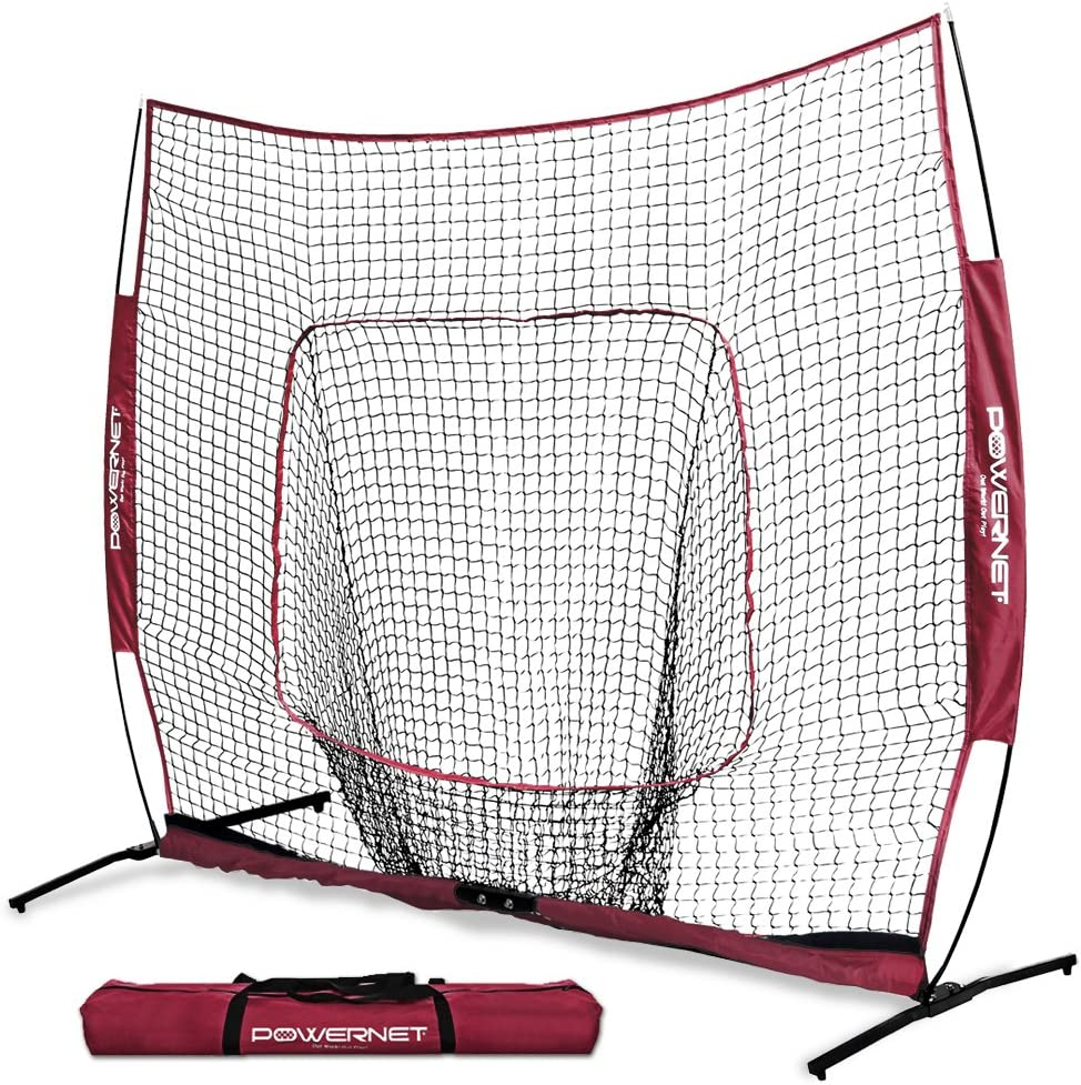 PowerNet 7×7 PRO Net with One Piece Frame Baseball Softball Practice Net Training Aid for Hitting Pitching Batting Fielding Portable Backstop Bow Style Frame Non-Tip Weighted Base Frame