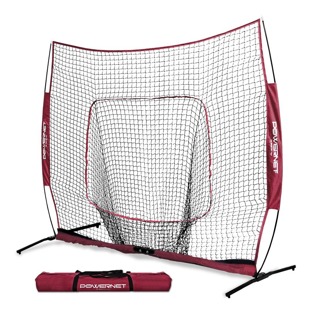 PowerNet 7x7 PRO Net with One Piece Frame (Maroon) | Baseball Softball Practice Net | Training Aid for Hitting Pitching Batting Fielding Portable Backstop | Bow Style Frame | Non-Tip Weighted Base by PowerNet