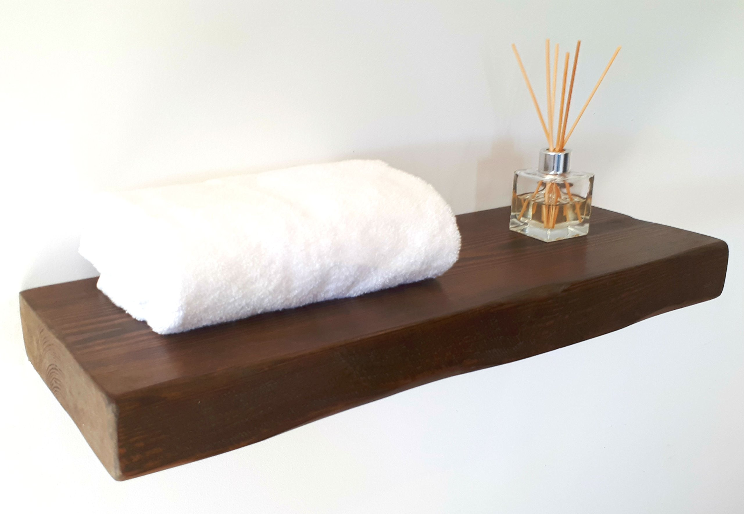 floating shelves reclaimed solid wood rustic wall shelf in dark oak finish 3 ft long perfect for living room kitchen bathroom office