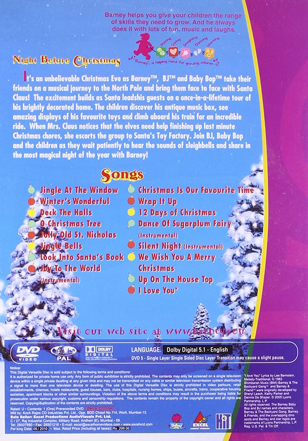 Amazon.in: Buy Barney:Night Before Christmas DVD, Blu-ray Online at ...