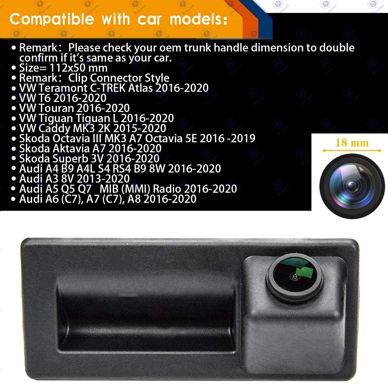 HD 1280x720p Rear Reversing Backup Camera Rearview Camera Night Vision Ip68 Waterproof for Skoda Octavia MK3 A7 5E Superb MK3 VW Teramont C-Trek Touran Caddy Atlas Audi A4 2016-2019