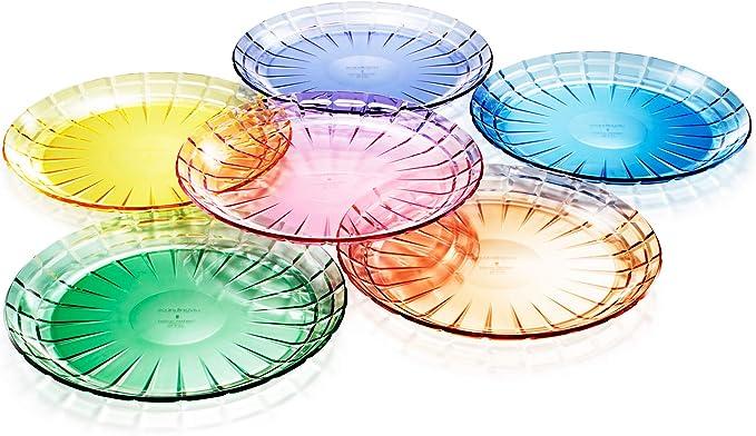 Juego de 6 platos de ensalada o cena de plástico Tritan irrompibles, sin BPA, 100 % fabricados en Japón (colores surtidos)