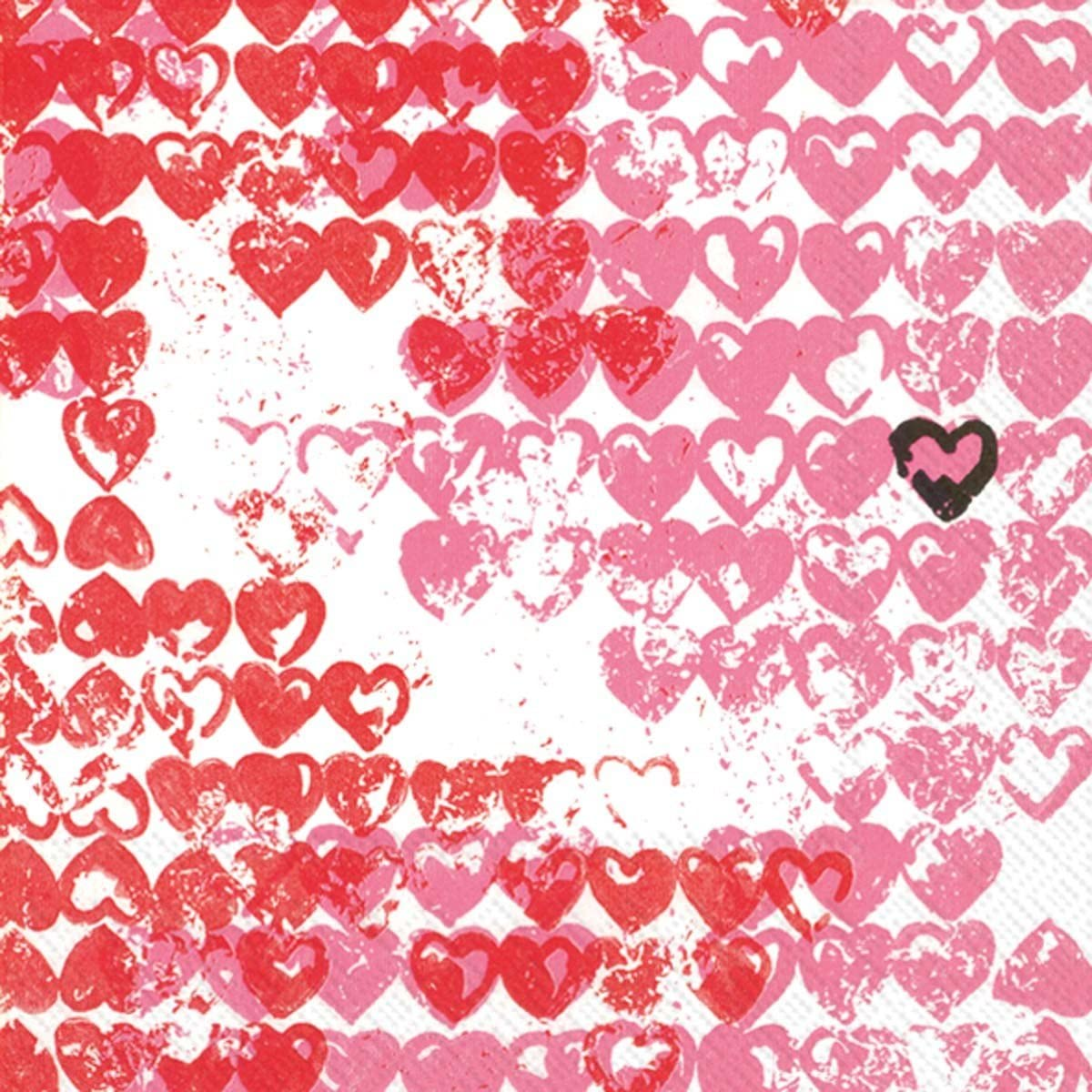 Ideal Home Range 20-Count 3-Ply Paper Cocktail Napkins, Red Little Heart
