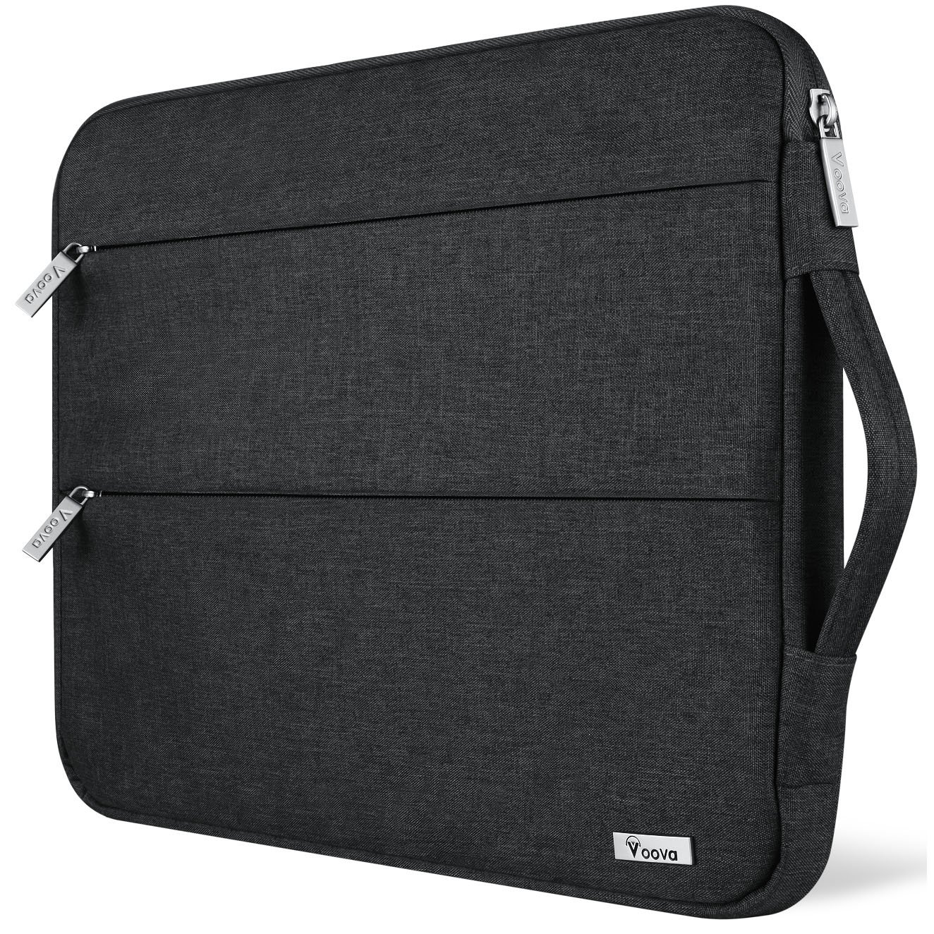 Voova 15.6 14 15 Inch Laptop Sleeve Case with Handle Waterproof Protective Cover Bag Compatible with MacBook Pro 15.4'', Surface Book 2 15'', ASUS, Acer, Hp with Pocket, Black