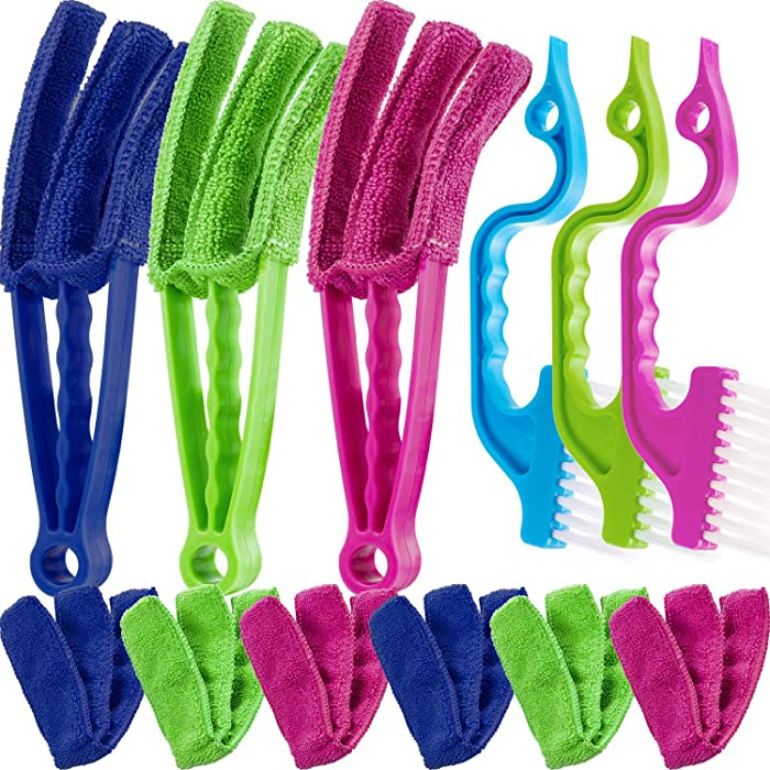 12 Pieces Window Blind Cleaner Tools, Microfiber Blind Duster Window Brush with 6 Pieces Sleeves and Groove Gap Window Track Tool for Shutters