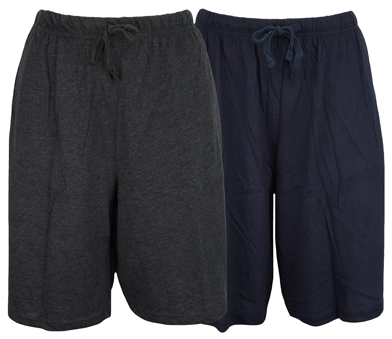 Atano Twin Pack Cotton Jersey Lounge Shorts Blue Grey X-Large