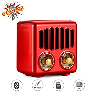 Vintage Radio, Retro Bluetooth Speaker, Greadio FM Radio with Bluetooth 4.2, Old Fashioned Classic Style, Good Bass Enhancement, Loud Volume, TF Card/AUX, Portable for Home, Office, Kitchen (Red)