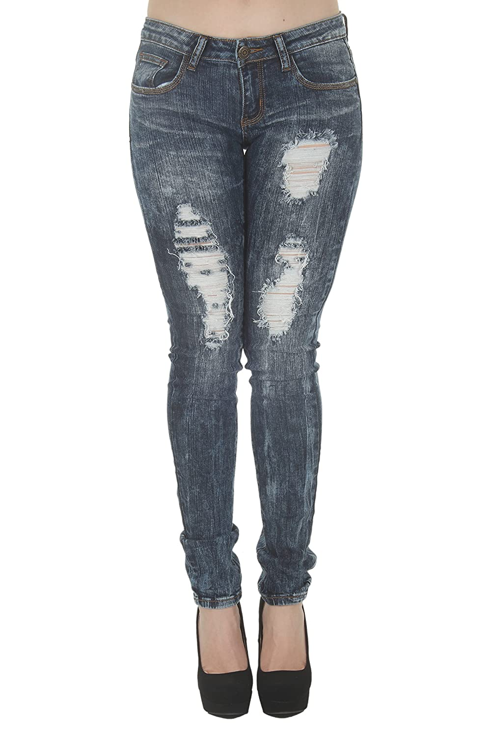 cheap 1A5566 – Women's Juniors Low Rise Distressed Destroyed ...