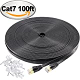 Cat 7 Ethernet Cable 100 ft Black – Jadaol 10GB fastest Shielded (STP) Computer Internet Cable - Flat Lan Network Cable With Snagless Rj45 Connectors– 100 feet Black ( 30 Meters )