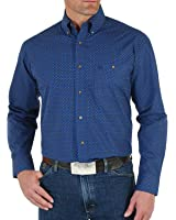 Wrangler Apparel Mens WSL Blue Print Button Down Shirt